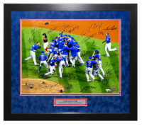 2016 Chicago Cubs World Series 25x27 Custom Framed Photo Display Team-Signed by (26) with Kris Bryant, Anthony Rizzo, Ben Zobrist, Theo Epstein, Javier Baez (Schwartz COA & Fanatics Hologram) at PristineAuction.com