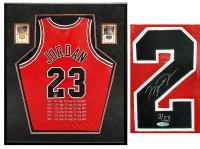 Michael Jordan Signed Chicago Bulls 34x38 Custom Framed Jersey Display with (2) Basketball Cards (UDA COA) at PristineAuction.com