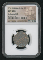 Spanish Colonial 2 Real Silver Shipwreck Coin from the El Cazador (NGC Encapsulated) at PristineAuction.com