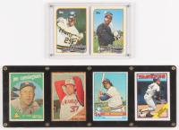 Lot of (2) Baseball Card Displays with (6) Cards Including 1989 Topps #620 Barry Bonds, 1989 Topps #440 Bobby Bonilla, 1988 Topps #60 Rickey Henderson, 1976 Topps #635 Jim Fergosi, 1962 Topps #120 Bob Purkey, & 1959 Topps #285 Joe Cunningham at PristineAuction.com