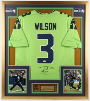 "Russell Wilson Signed Seattle Seahawks 32"" x 36"" Custom Framed Jersey Display (JSA COA) at PristineAuction.com"