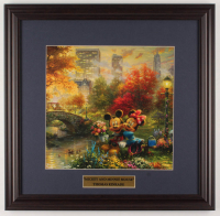 "Thomas Kinkade Walt Disney's ""Mickey & Minnie in Central Park"" 18x18.5 Custom Framed Print Display at PristineAuction.com"