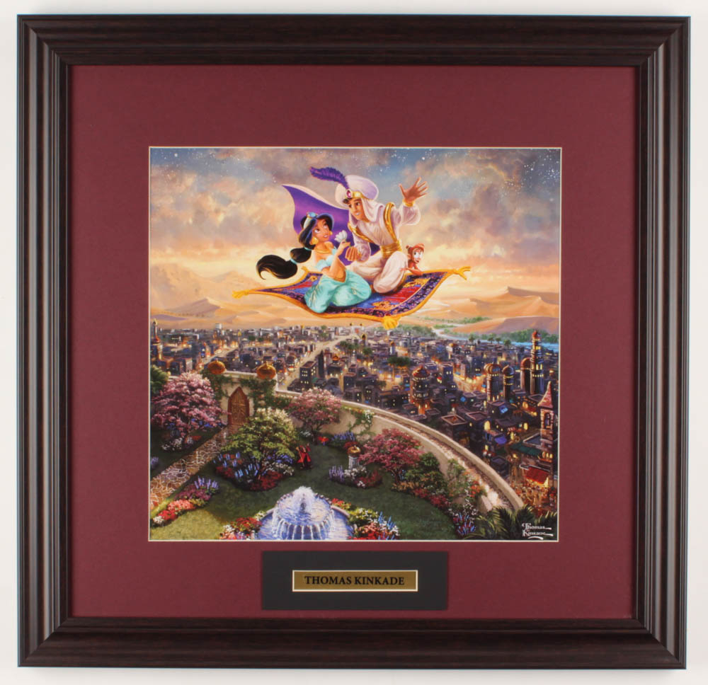 "Thomas Kinkade Walt Disney's ""Aladdin"" 18x18.5 Custom Framed Print Display at PristineAuction.com"