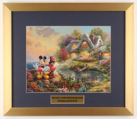 "Thomas Kinkade Walt Disney's ""Mickey and Minnie Mouse"" 15.5x18 Custom Framed Print Display at PristineAuction.com"