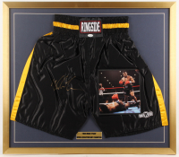 Mike Tyson Signed 28x32 Custom Framed Boxing Shorts Display with Photo (JSA COA) at PristineAuction.com