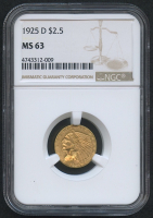 1925-D $2.50 Indian Quarter Eagle Gold Coin (NGC MS 63) at PristineAuction.com