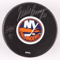 "Mike Bossy Signed New York Islanders Logo Hockey Puck Inscribed ""HOF 91"" (Beckett COA) at PristineAuction.com"