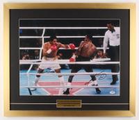 Sugar Ray Leonard & Roberto Duran Signed 22x25.5 Custom Framed Photo Display (PSA COA) at PristineAuction.com