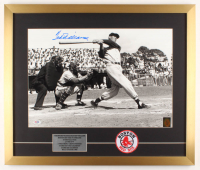 Ted Williams Signed Boston Red Sox 21x25 Custom Framed Photo Display with Patch (Williams Hologram & PSA LOA) at PristineAuction.com