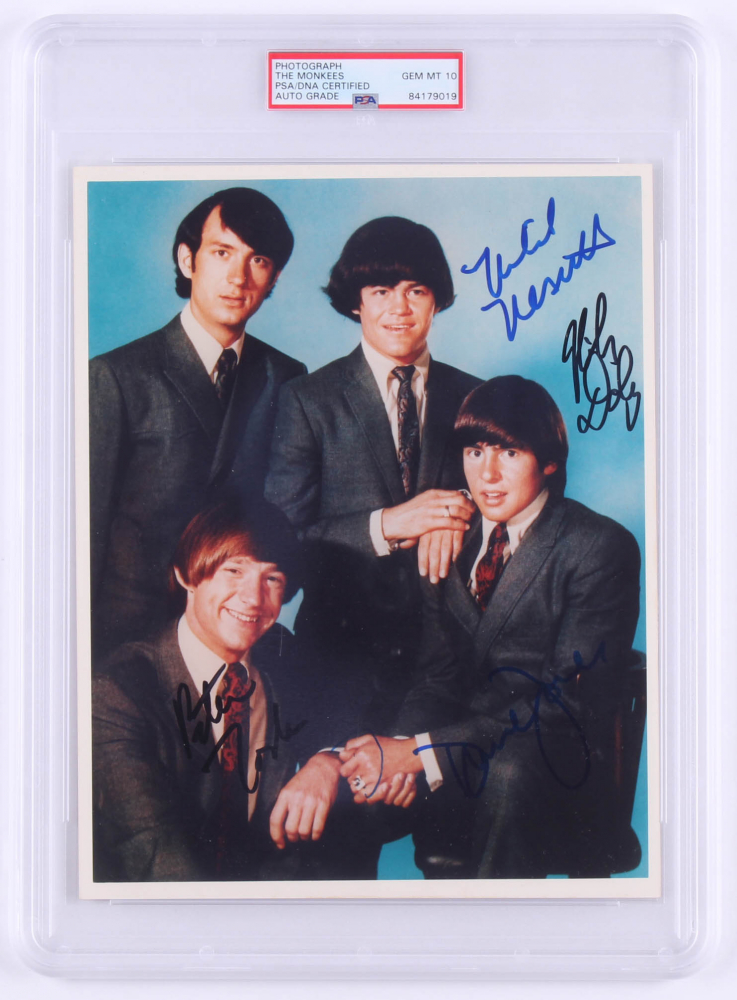 The Monkees 8x10 Photo Signed by (4) with Davy Jones, Peter Tork, Michael Nesmith & Mickey Dolenz (PSA Encapsulated) at PristineAuction.com