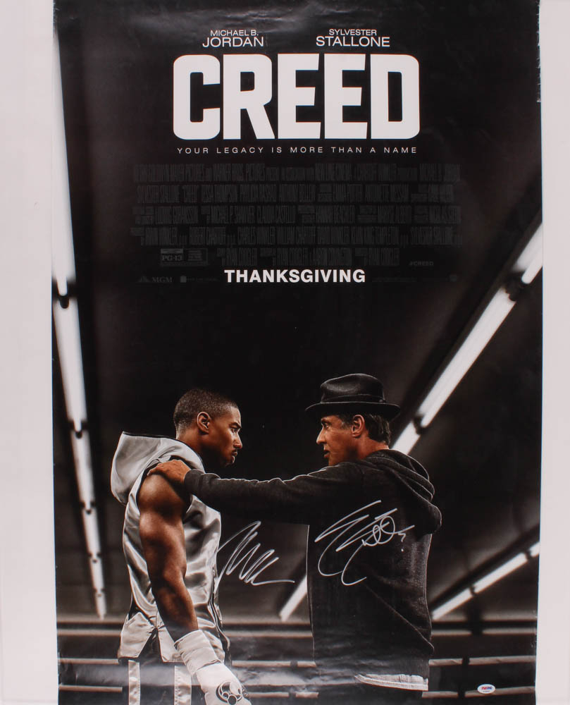 """Sylvester Stallone & Michael B. Jordan Signed """"Creed"""" 27x40 Movie Poster (PSA Hologram) at PristineAuction.com"""