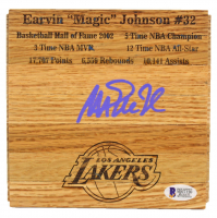 Magic Johnson Signed Lakers 6x6 Custom Engraved Wood Floorboard Piece (Beckett COA) at PristineAuction.com