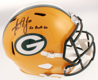"""Aaron Jones Signed Green Bay Packers Full-Size Speed Helmet Inscribed """"Go Pack Go"""" (JSA COA) at PristineAuction.com"""