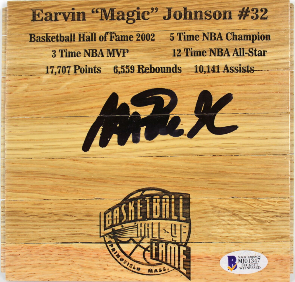 Magic Johnson Signed 6x6 Custom Engraved Wood Floorboard Piece (Beckett COA) at PristineAuction.com