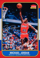 "Michael Jordan Signed Bulls ""Fleer Rookie Card Blow Up"" 12.5x17.5 Photo (UDA COA) at PristineAuction.com"