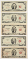 Lot of (5) $2 Two-Dollar Red Seal U.S. Legal Tender Notes with (3) 1963, (1) 1953-A, & (1) 1953 at PristineAuction.com