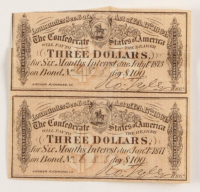Lot of (2) Uncut Confederate States of America Richmond CSA Bank Note Bonds with (1) 1873 $3 Three-Dollar Note & (1) 1877 $3 Three-Dollar Note at PristineAuction.com
