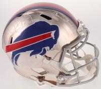 "Jim Kelly, Thurman Thomas, & Andre Reed Signed Bills Full-Size Chrome Speed Helmet Inscribed ""HOF 02"", ""HOF 07"", & ""HOF 14"" (Beckett COA) at PristineAuction.com"
