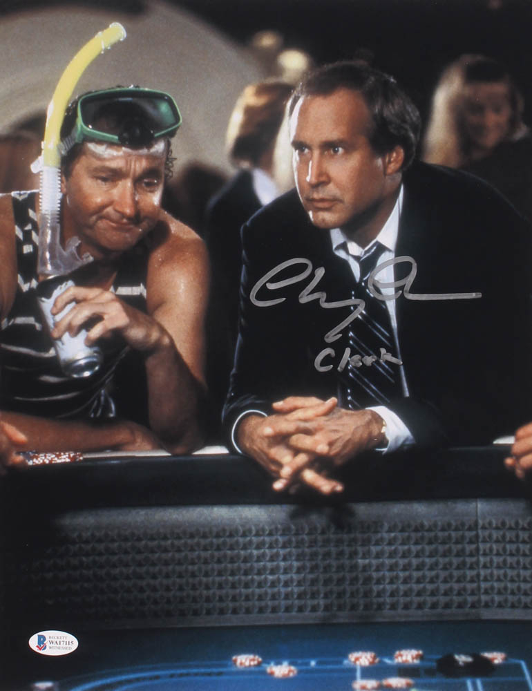"Vegas Vacation Clark Griswold: Chevy Chase Signed ""Vegas Vacation"" 11x14 Photo Inscribed"