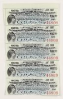 Uncut Sheet of (5) 1985-1987 $17.50 Seventeen Dollars & Fifty Cents New York Central & Hudson River Railroad Company Bank Bonds at PristineAuction.com