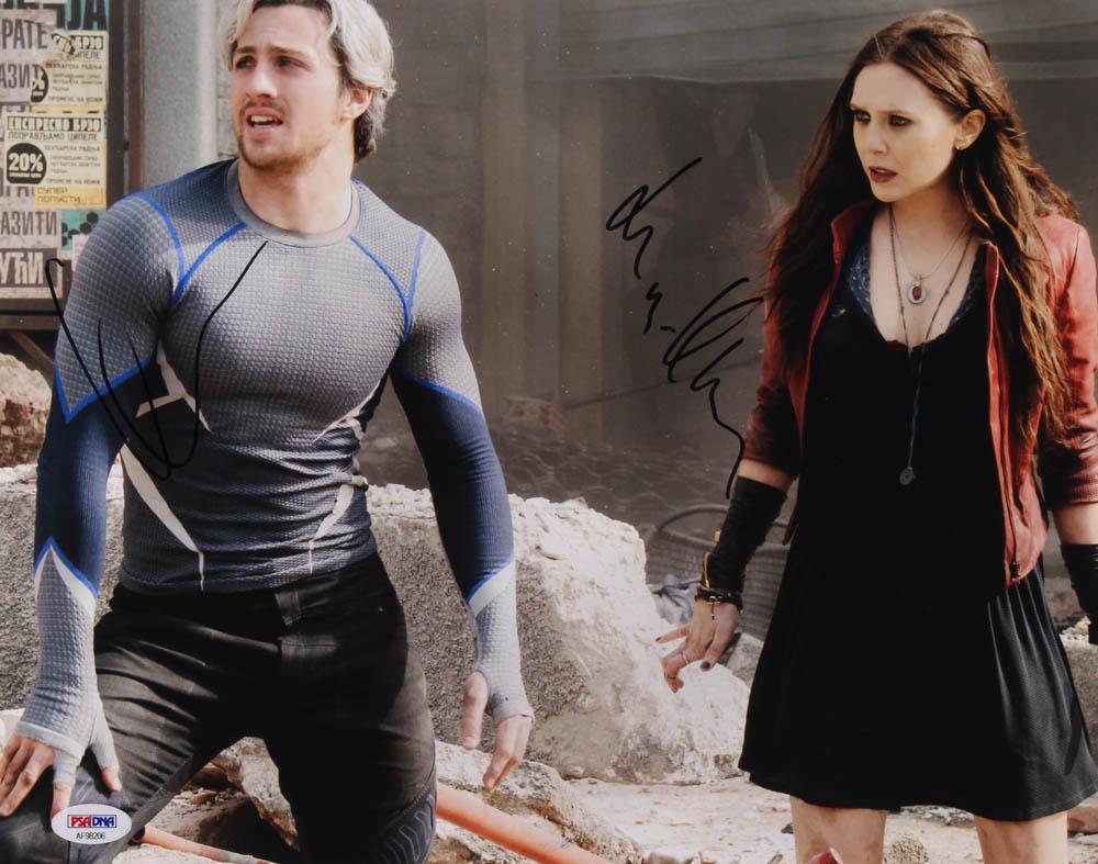 "Aaron Taylor-Johnson & Elizabeth Olsen Signed ""Avengers: Age of Ultron"" 11x14 Photo (PSA Hologram) at PristineAuction.com"
