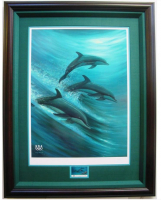 """Wyland Signed """"Faster, Higher, Stronger"""" 29x37 Custom Framed LE Lithograph (Wyland COA) at PristineAuction.com"""