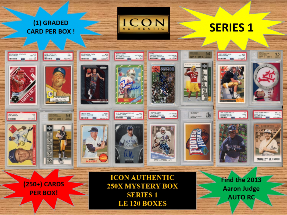 ICON AUTHENTIC  250X MYSTERY BOX SERIES 1 250+ Cards per Box at PristineAuction.com