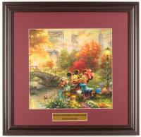"Thomas Kinkade Walt Disney's ""Mickey & Minnie In Central Park"" 18x18.5 Custom Framed Print Display at PristineAuction.com"
