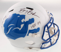 "Barry Sanders Signed Lions Full-Size AMP Alternate Speed Helmet Inscribed ""The Lion King"" & ""HOF '04"" (Schwartz COA) at PristineAuction.com"