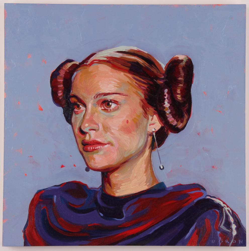 "Brianna Voron Signed ""Padme Amidala"" 12x12 Original Oil Painting on Panel (PA LOA) at PristineAuction.com"