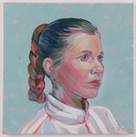 "Brianna Voron Signed ""Princess Leia"" 12x12 Original Oil Panting on Panel (PA LOA) at PristineAuction.com"