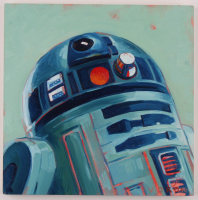 "Brianna Voron Signed ""R2-D2"" 12x12 Original Oil Panting on Panel (PA LOA) at PristineAuction.com"
