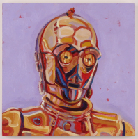 "Brianna Voron Signed ""C-3PO"" 12x12 Original Oil Panting on Wood Panel (PA LOA) at PristineAuction.com"