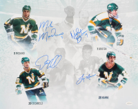 North Stars Hall-of-Famers 16x20 Photo Signed by (4) with Mike Modano, Neal Broten, Dino Ciccarelli & Lou Nanne (TSE COA) at PristineAuction.com
