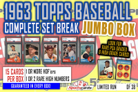 1963 Topps Baseball Complete Set Break JUMBO Mystery BOX – 15 Cards Per Box! at PristineAuction.com