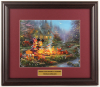 "Thomas Kinkade Walt Disney's ""Mickey & Minnie Mouse at Campfire"" 16x18.5 Custom Framed Print Display at PristineAuction.com"