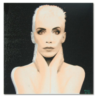 """Ringo Signed """"Annie Lennox"""" 15x15 One-of-a-Kind Hand Pulled Silkscreen & Mixed Media on Canvas at PristineAuction.com"""