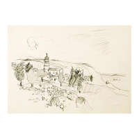 "Wayne Ensrud Signed ""Chiroubles in Beajuolais, France"" 15x18 Pencil Original Artwork at PristineAuction.com"