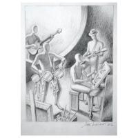 "Mark Kostabi Signed ""Kostabeat"" 12x19 Original Artwork at PristineAuction.com"
