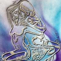 """Mark Kostabi Signed """"Azure Fantasy"""" 30x22 Original Artwork at PristineAuction.com"""