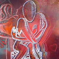 "Mark Kostabi Signed ""Embracing Scarlet Passion"" 42x29 Original Artwork at PristineAuction.com"