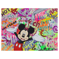 "Nastya Rovenskaya Signed ""Party with Mickey"" 30x40 Original Oil on Canvas at PristineAuction.com"