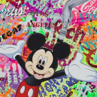 """Nastya Rovenskaya Signed """"Party with Mickey"""" 30x40 Original Oil on Canvas at PristineAuction.com"""
