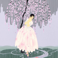 """Erte Signed """"Blossom Umbrella"""" Limited Edition 23x29 Serigraph from an AP Edition at PristineAuction.com"""