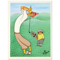 """Xavier Cugat Signed """"Skinny Golfer"""" Limited Edition 22x28 Lithograph at PristineAuction.com"""