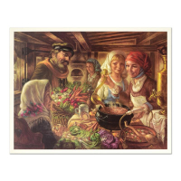 """Virginia Dan Signed """"Making of the Cholent"""" Limited Edition 25x32 Lithograph at PristineAuction.com"""