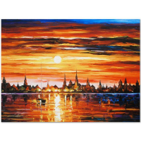 "Leonid Afremov Signed ""Sunset in Barcelona"" Limited Edition 24x18 Giclee on Canvas at PristineAuction.com"