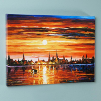 """Leonid Afremov Signed """"Sunset in Barcelona"""" Limited Edition 24x18 Giclee on Canvas at PristineAuction.com"""