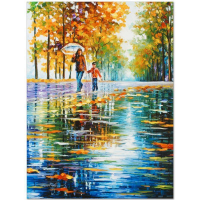 """Leonid Afremov Signed """"Stroll in an Autumn Park"""" Limited Edition 18x24 Giclee on Canvas at PristineAuction.com"""