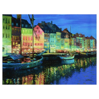 """Howard Behrens Signed """"As Night Falls, Copenhagen"""" Limited Edition 32x24 Giclee on Canvas at PristineAuction.com"""